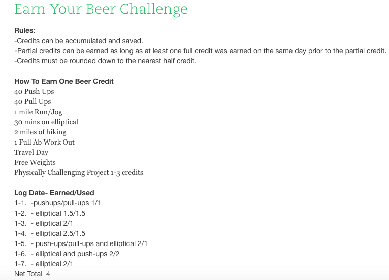 Exercise Earn Your Beer Evernote